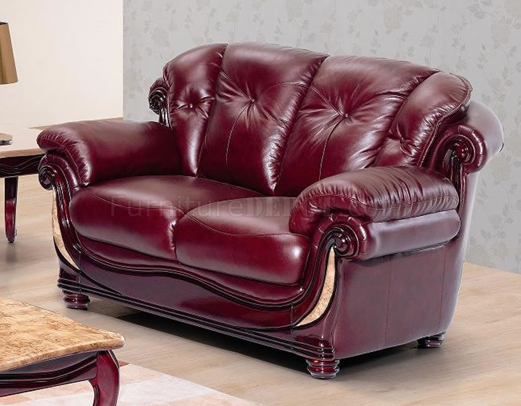 burgundy sofa and loveseat chaise bed canada leather stylish living room w/cherry wooden trims