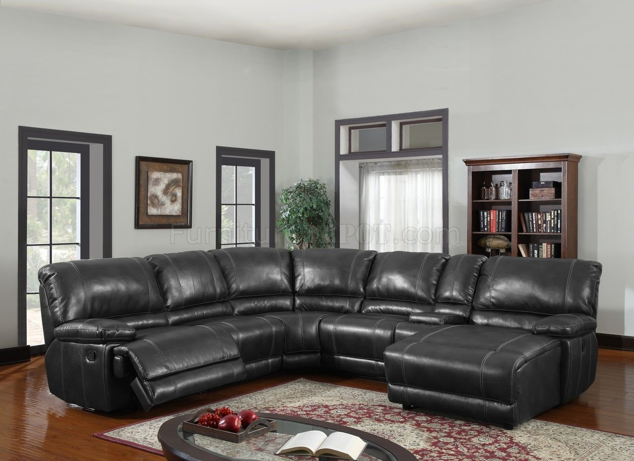 U1953 6pc Motion Sectional Sofa Black Bonded Leather By Global