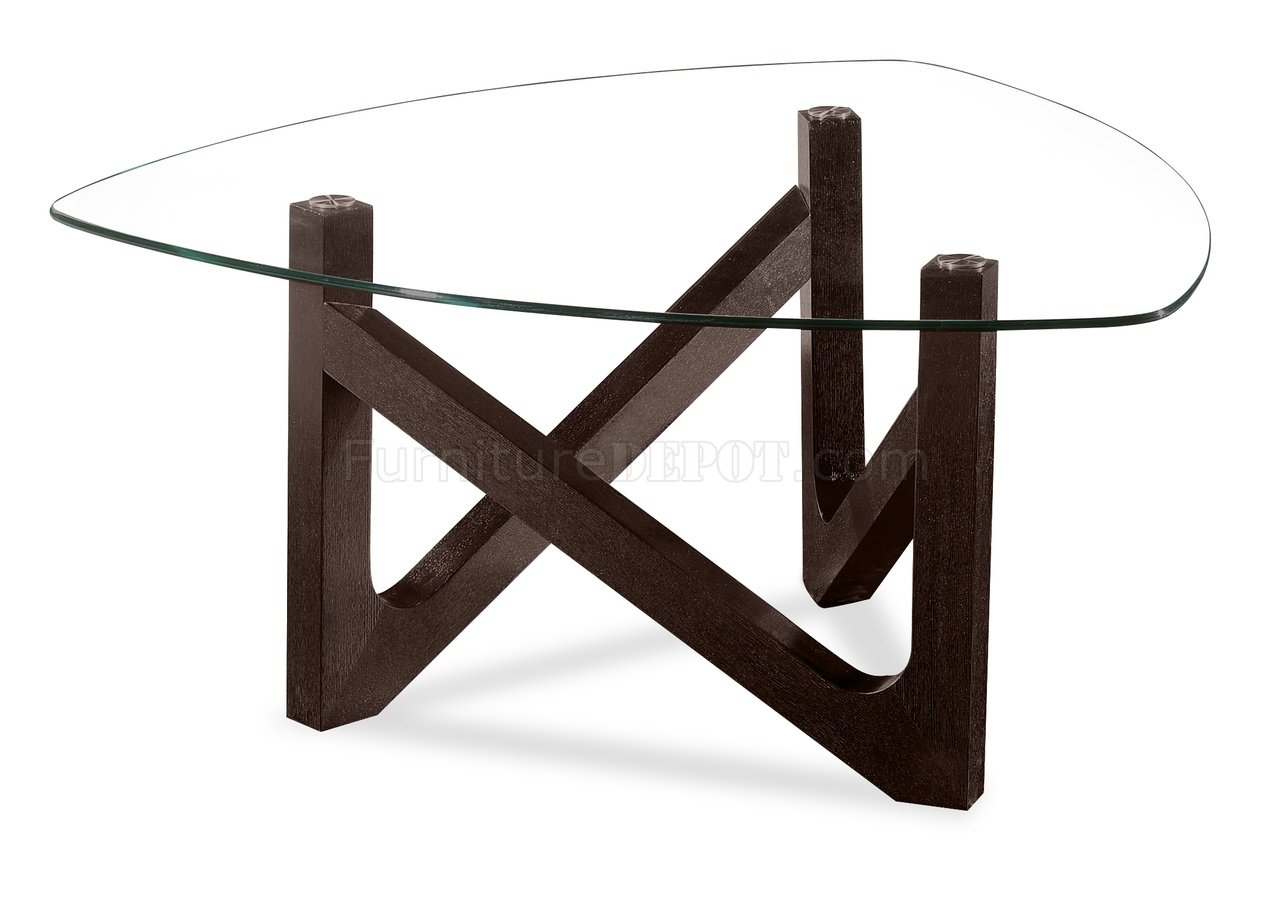 glass top z shape wooden base