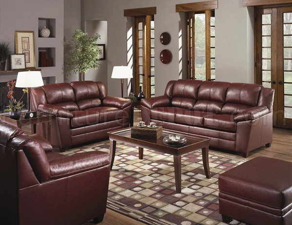Wine Color Bonded Leather Modern Living Room WWooden Legs