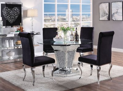 Noralie Dining Table 71285 in Mirror by Acme wOptions