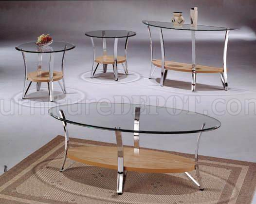 glass metal modern coffee table set w