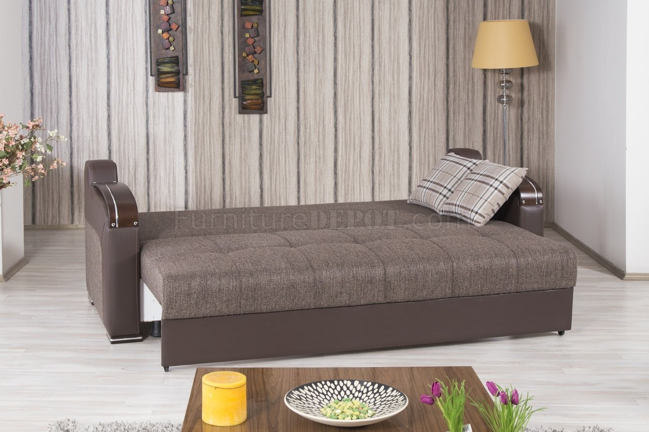 Divan Deluxe Sofa Bed in Brown Fabric by Casamode wOptions