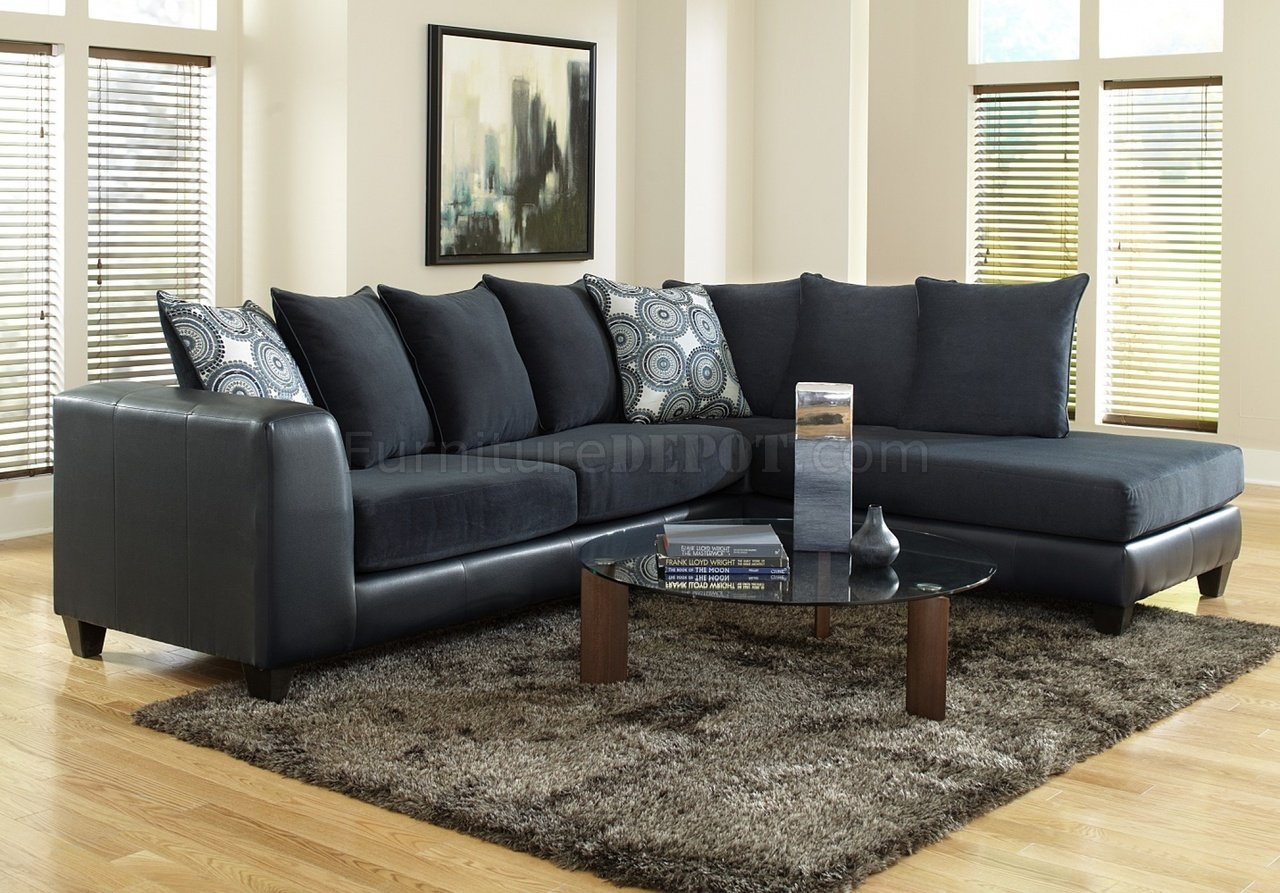 4502 sectional sofa in blue microfiber