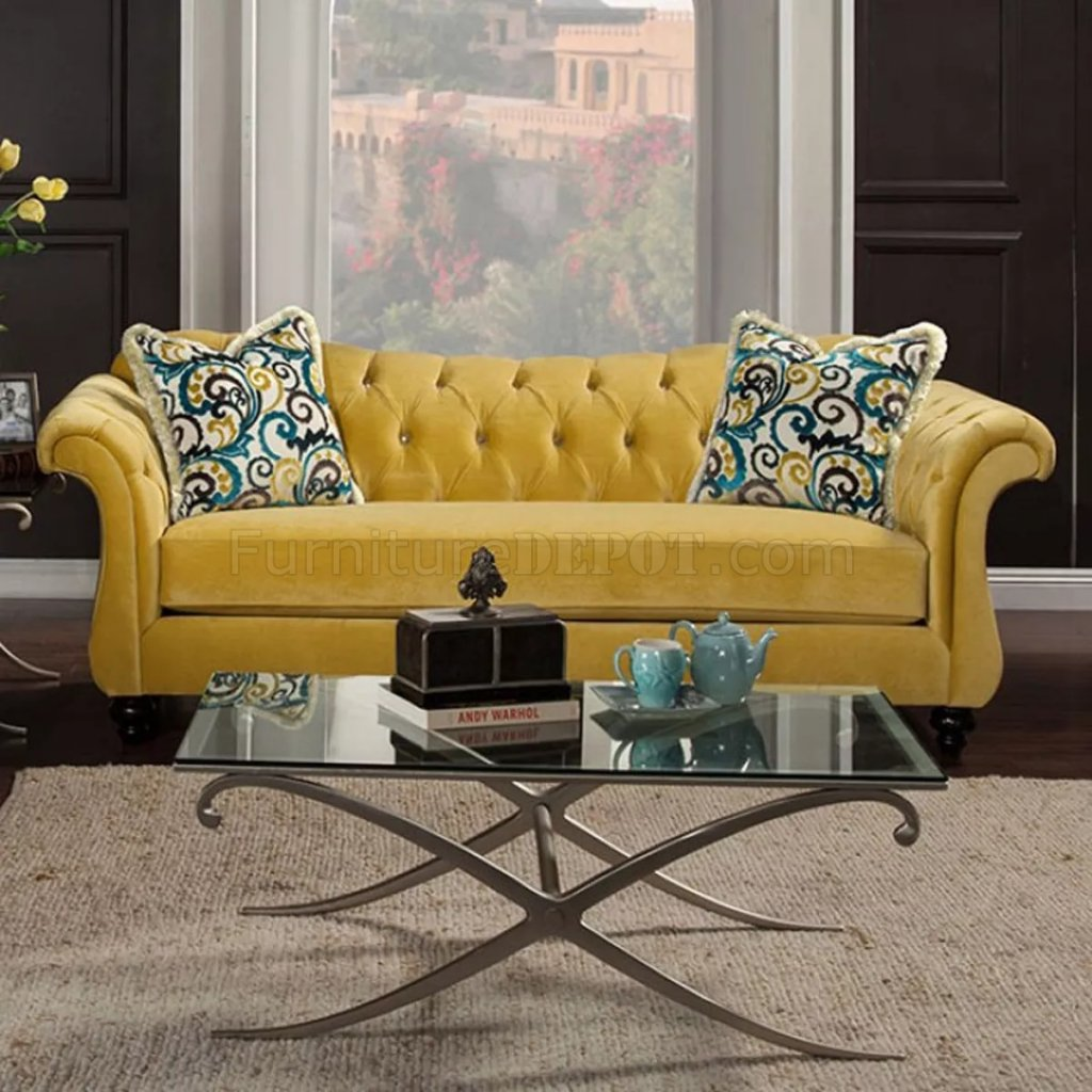 agatha sofa reviews accent tables antoinette ii sm2223 in royal yellow fabric w options