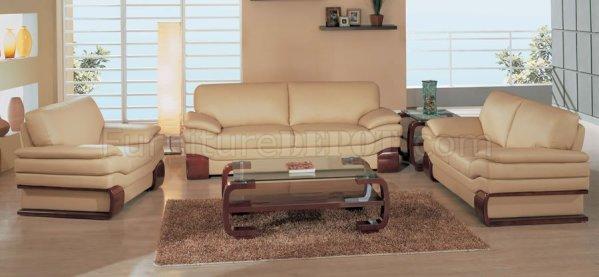 elegant leather living room furniture Elegant Beige Leather Living Room Set with Wooden Accents