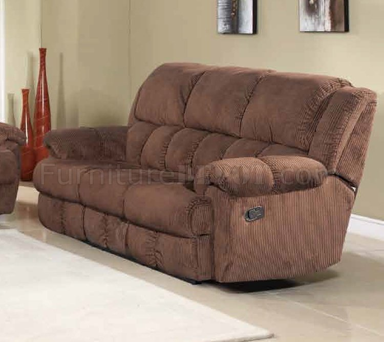 Hunter Reclining Sofa in Brown Fabric wOptional Items