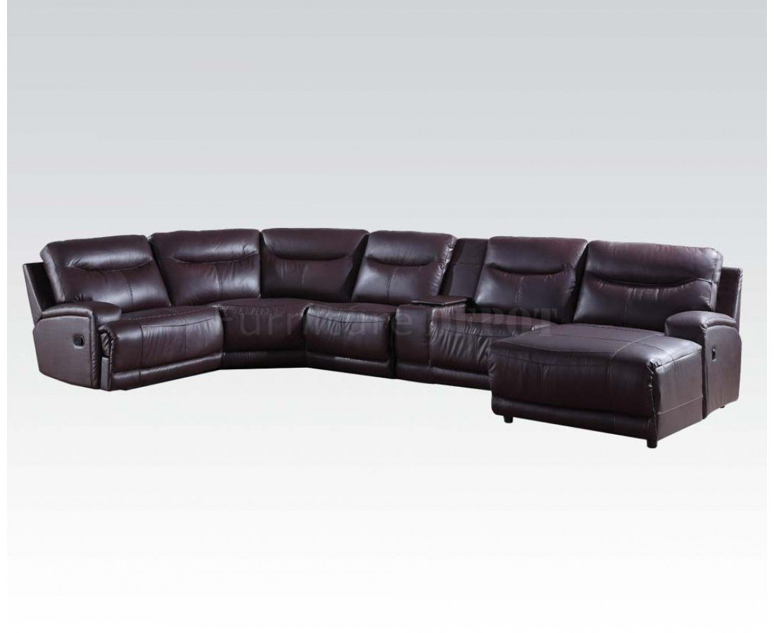 acme sectional sofa chocolate white leather 3 seater recliner oleta 52550 in dark brown by