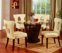 Round Glass Top & Espresso Base Modern Dining Table w/Options