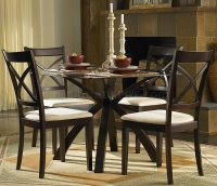 Warm Cherry Finish Round Glass Top Modern 5Pc Dining Set