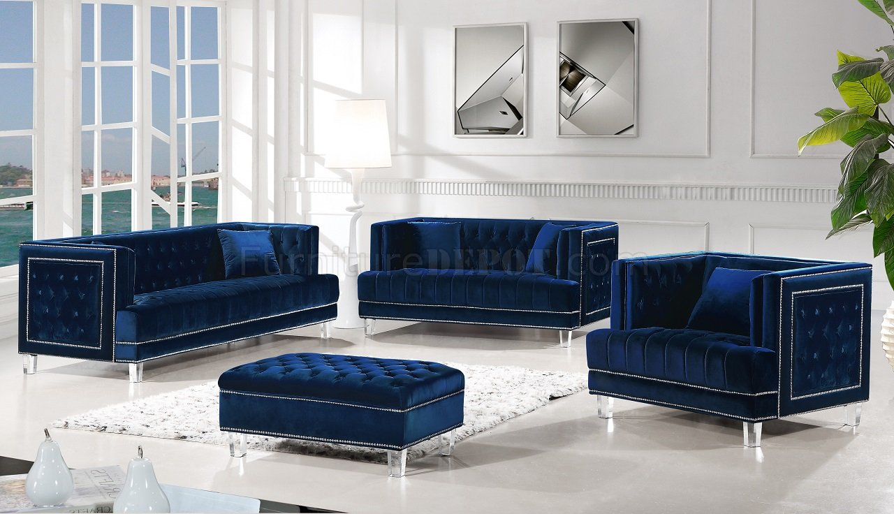 Lucas Sofa 609 in Navy Velvet Fabric by Meridian wOptions