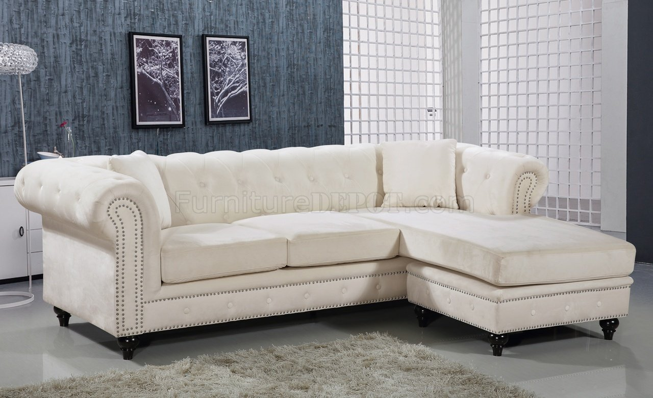 sabrina sofa louis shanks sectional 667 in cream velvet fabric by meridian