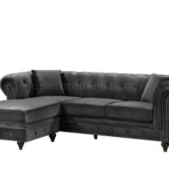 Sabrina Sofa Transitional Sofas Sectional 667 In Grey Velvet Fabric By Meridian