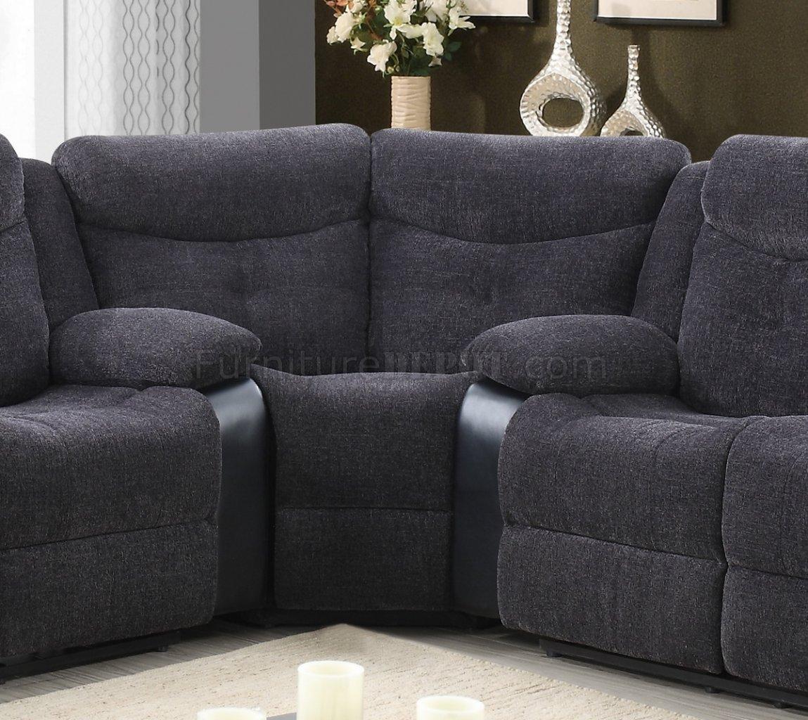 grey reclining sofa set console table behind u1566 motion sectional dark fabric & black pu ...