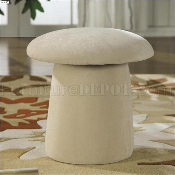 Cream Fabric Mushroom Shaped Modern Ottoman wSwivel Seat