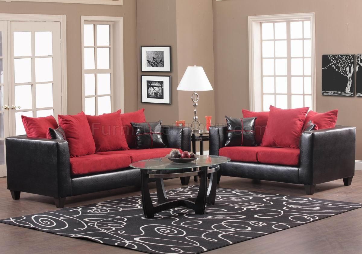 Lupa pu leather & fabric modular sofa (black/grey). Red Fabric and Black Vinyl Modern Sofa & Loveseat Set w ...