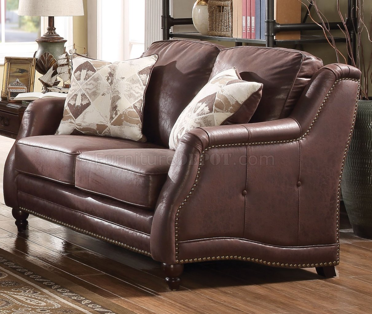 acme sectional sofa chocolate rattan replacement cushions nickolas 52065 in fabric by w options