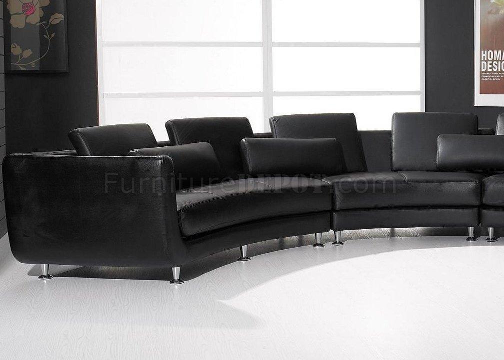 3 piece black leather living room set in grey a94 top grain modern modular sectional sofa vig ...