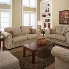 Living Room Sofa And Loveseat French Country Style Sand Fabric Casual Set W