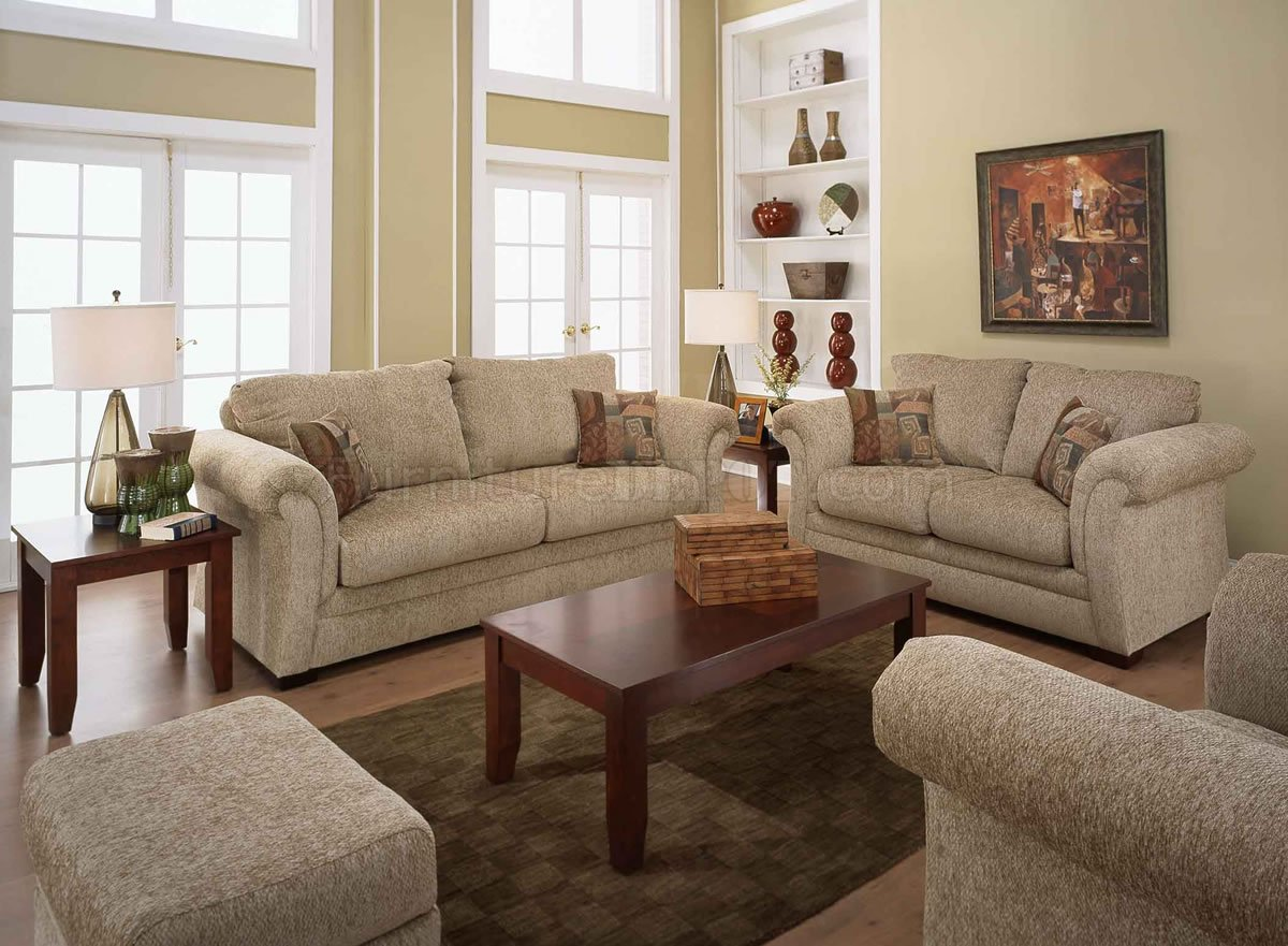 living room with loveseat and chairs kitchen divider sand fabric casual sofa set w rolled arms