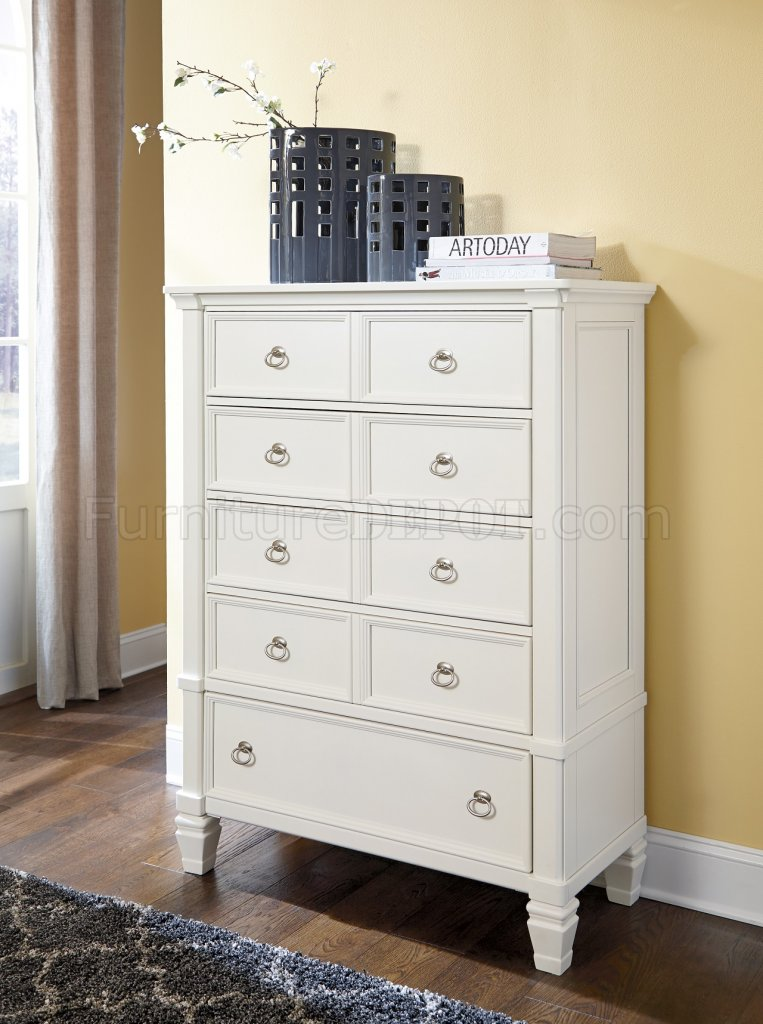 Prentice Bedroom B672 in White wStorage Bed by Ashley Furniture