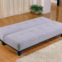 Grey Microfiber Sleeper Sofa 2 Seater Leather Next Modern Convertible Bed 300164