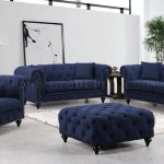 Chesterfield Sofa 662 In Navy Linen Fabric W Optional Items