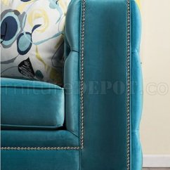 Living Room Sofa And Loveseat One Piece Leather Slipcover Salvatore Sm2282 In Turquoise Velvet Fabric W/options