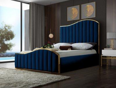 Jolie Bed in Navy Velvet Fabric by Meridian wOptions