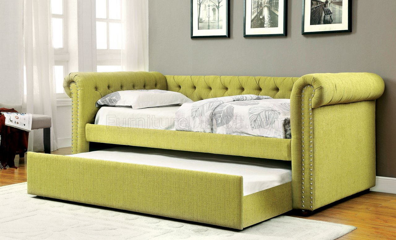 fabric sofa sets with wood trim 110 inch leanna cm1027gr daybed & trundle set in green