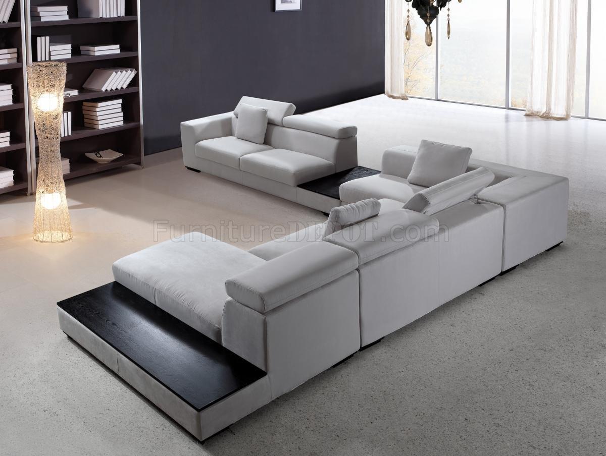 gray microfiber sectional sofas cheap bean bag uk grey modern sofa w adjustable headrests