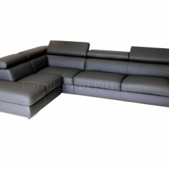 Dark Gray Sofa Build Your Own Sectional The Brick Grey Leather Modern W Adjustable Headrests