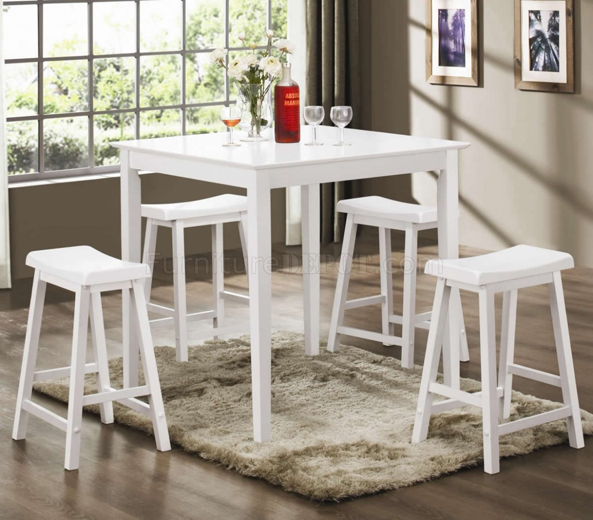 White Finish Modern 5Pc Counter Height Dining Set WSquare Top