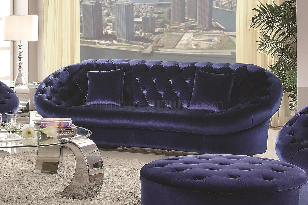 royal blue sofa fabric oversize sofas romanus 511041 sectional in coaster w options