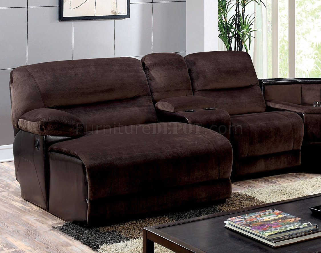 microfiber fabric sofa free shipping europe glasgow reclining sectional cm6822 in brown