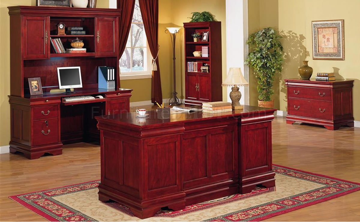 Deep Cherry Classic Office Desk WStorage Drawers