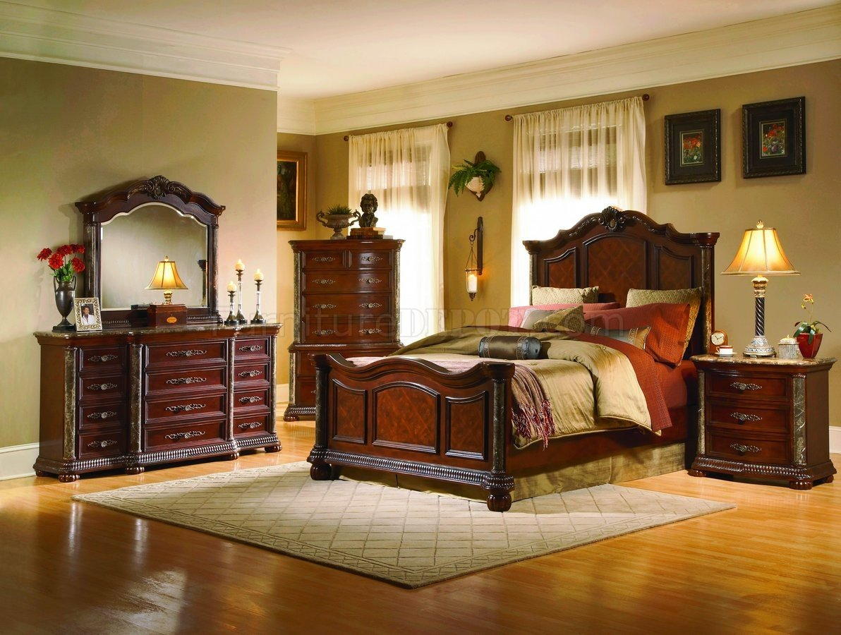 mixing leather and fabric furniture in living room paint for colors white wash finish classic 5pc bedroom set w/marble tops ...