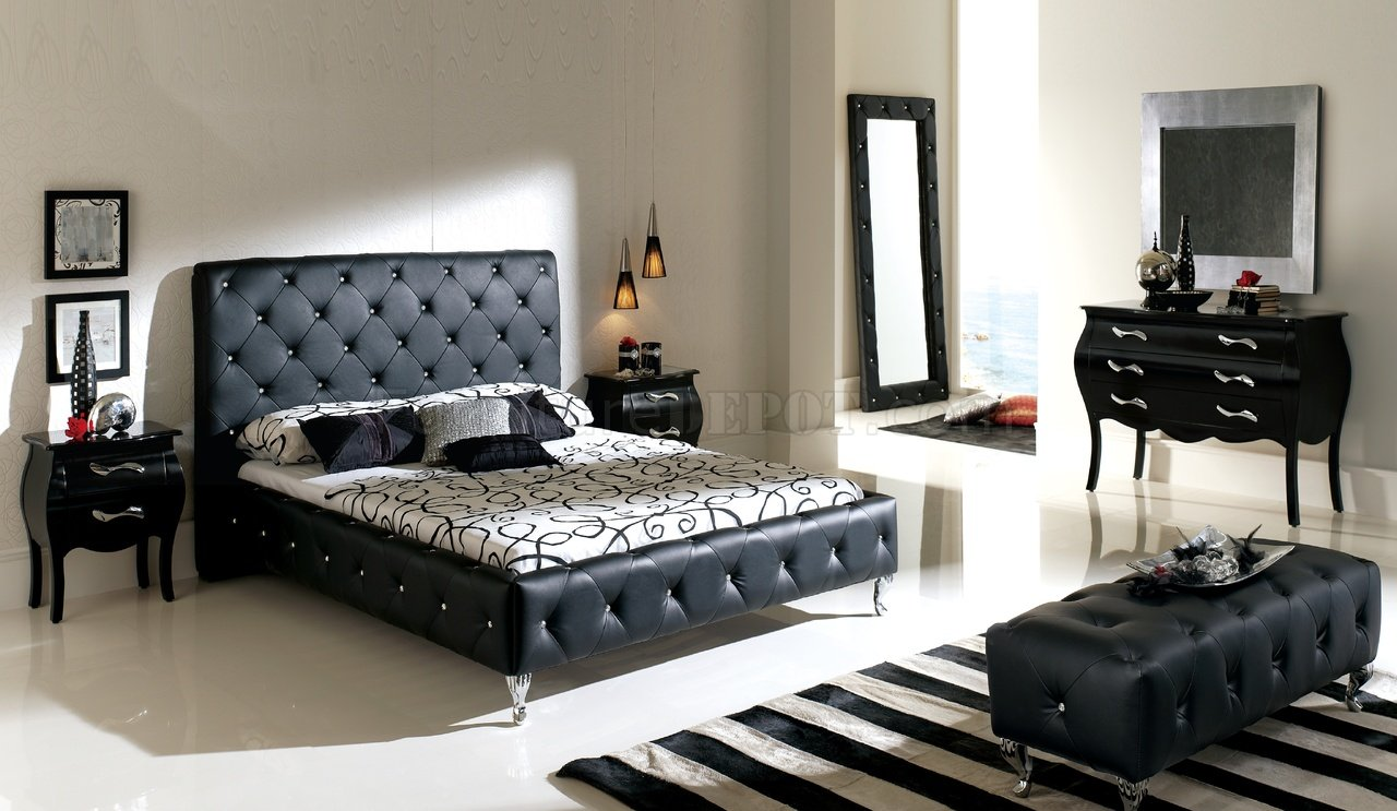 Nelly bedroom by ESF with Black tufted Leather Headboard