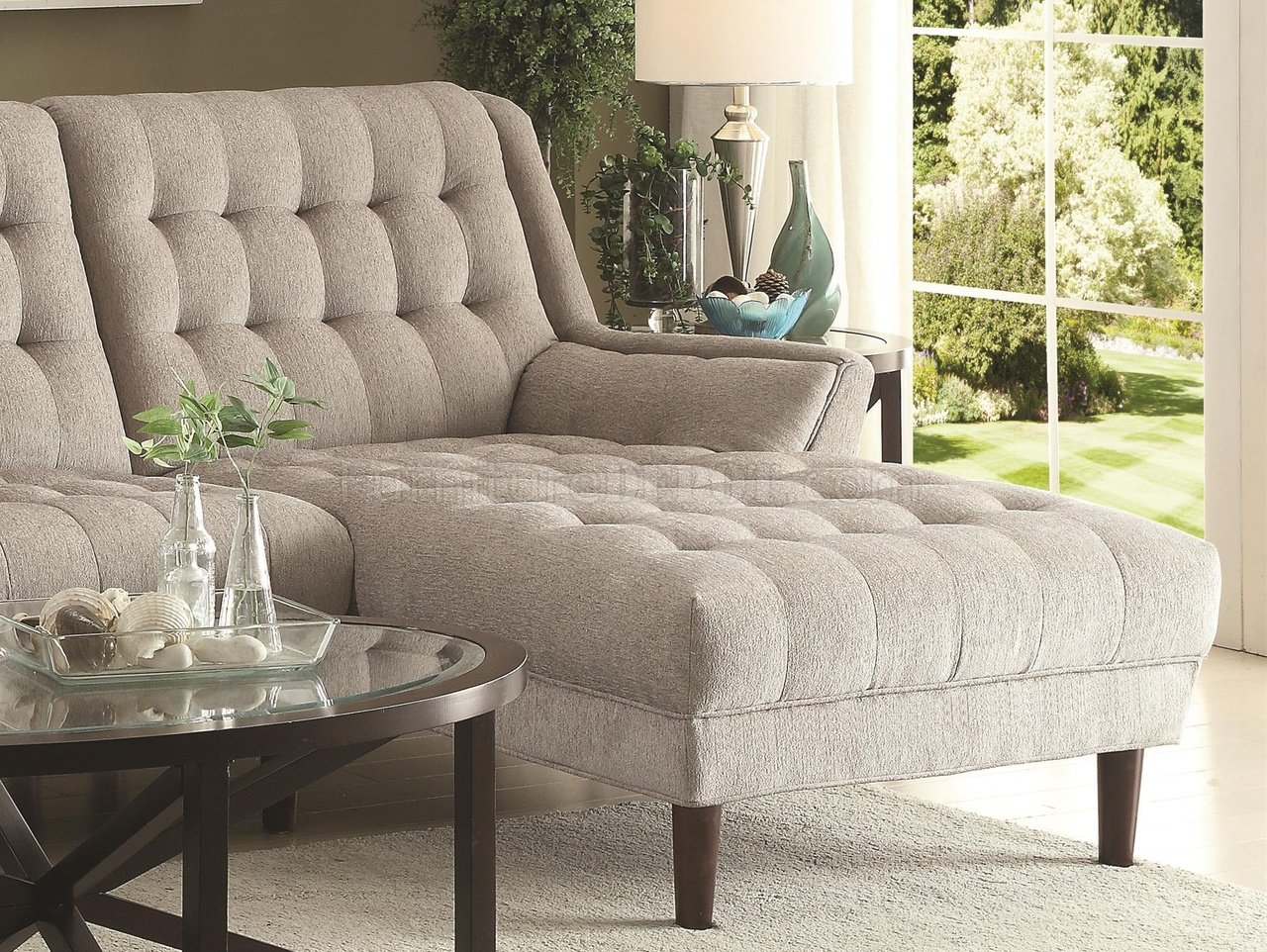natalia leather and chenille sofa long chair sectional 503777 in dove grey fabric by coaster