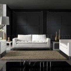 3 Piece Black Leather Living Room Set Curtains Ideas For Top Grain Modern Manhattan ...
