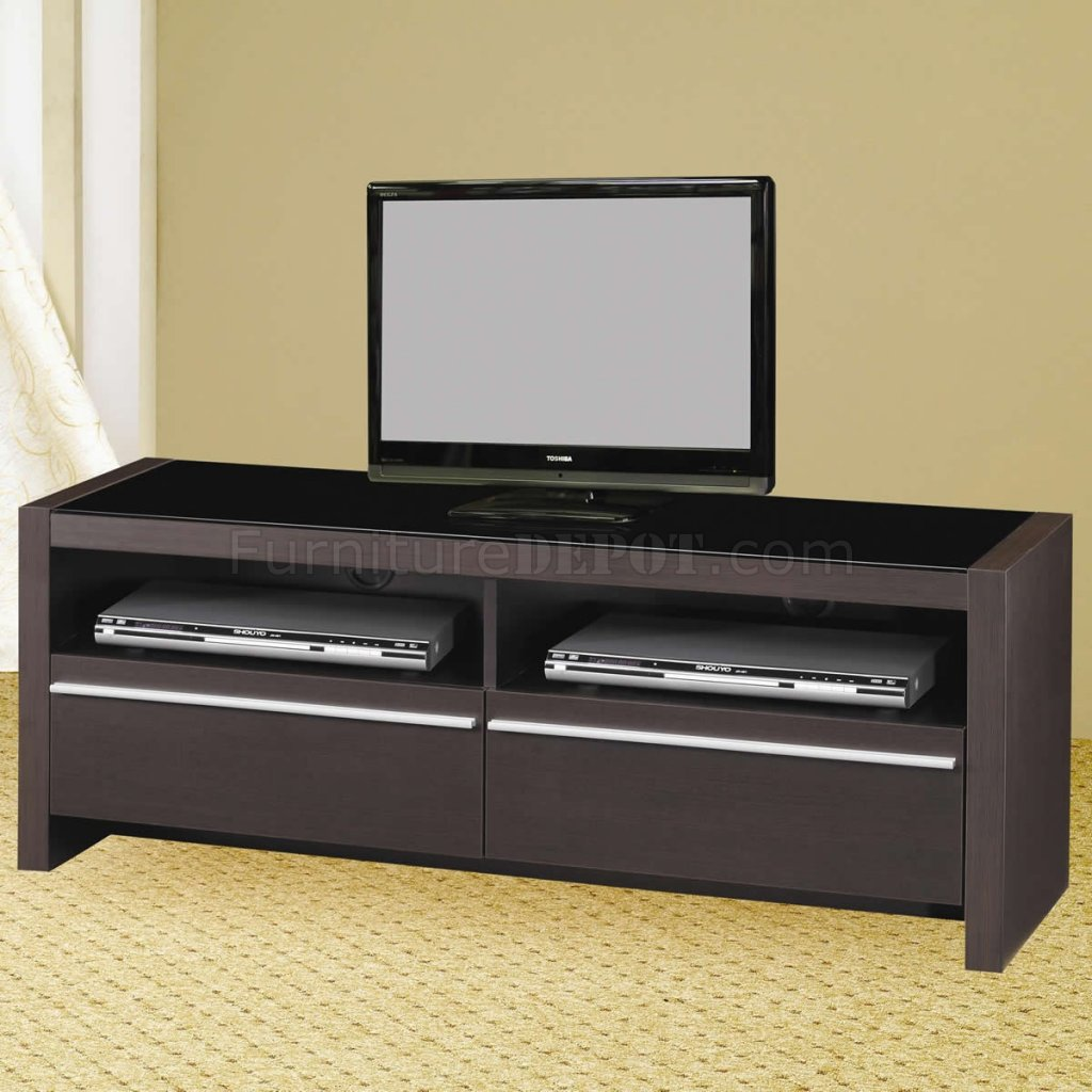 discontinued dining room chairs dorm walmart cappuccino finish modern tv stand w/shelves & two drawers