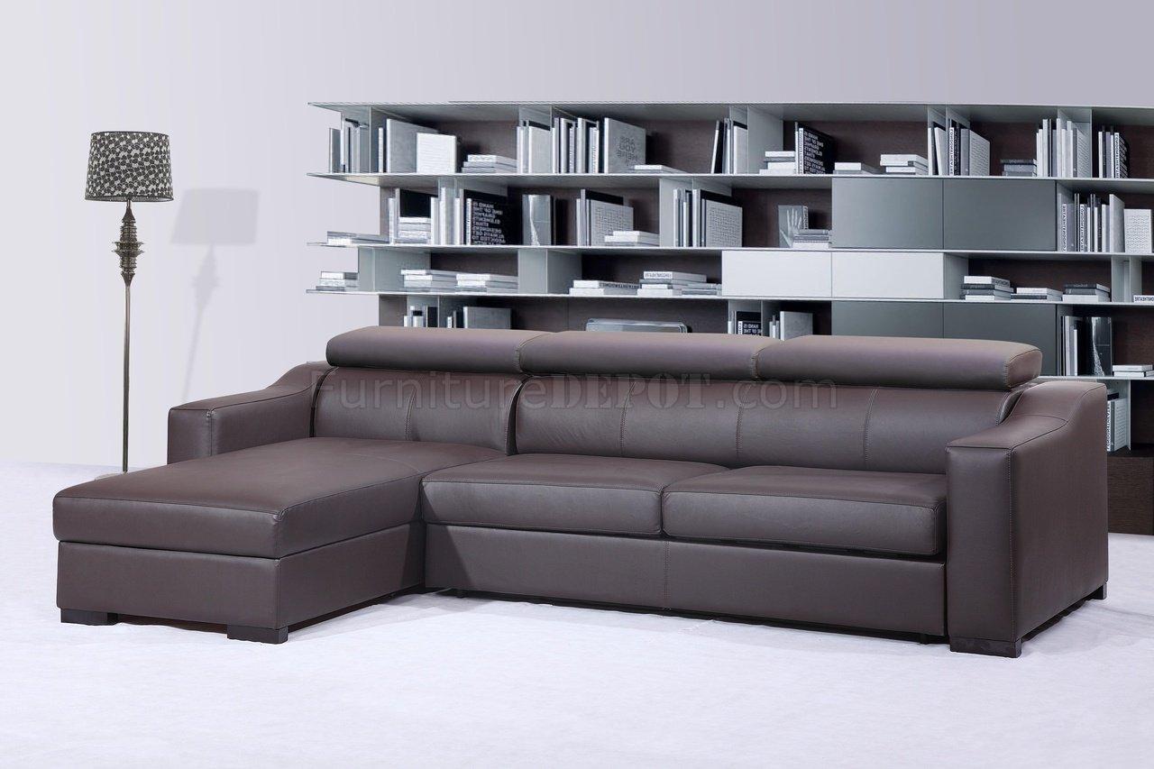 brown sectional sleeper sofa black outdoor chocolate italian leather modern