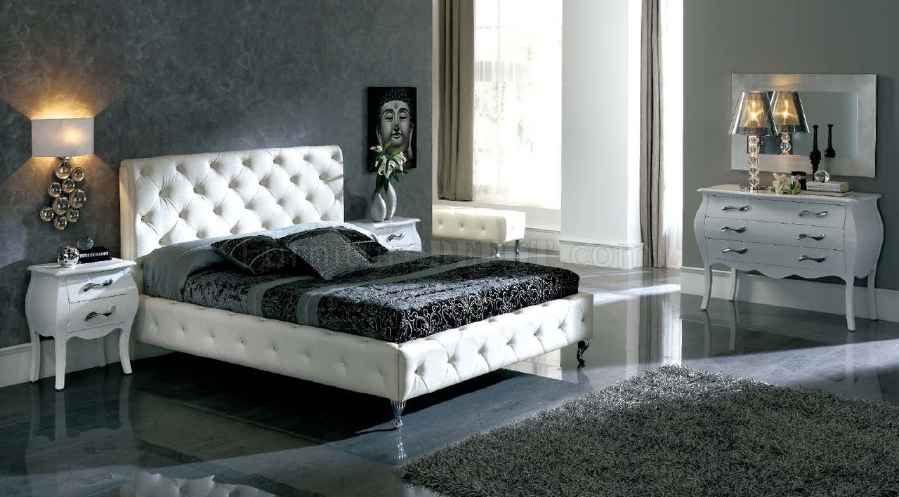 White Nelly Bed by ESF wModern Tufted Leather Headboard