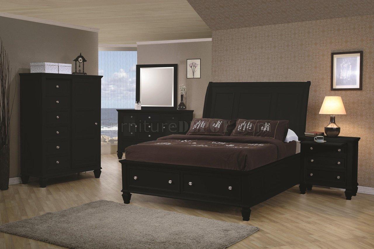 Black Finish Transitional Bedroom W Storage Bed Amp Options