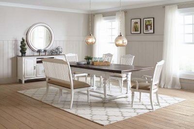 Simpson Dining Table 105181 In Vintage White Coaster W