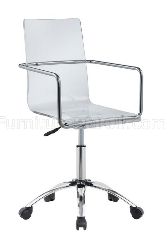 clear acrylic swivel office chair van gogh caraway 801436 w/clear seat by coaster