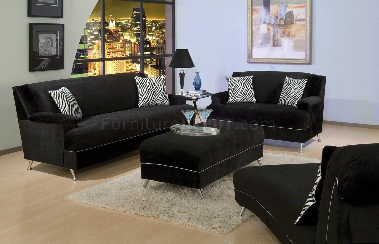 black velvet sofa living room leather cushions repair contemporary w stylish chrome legs