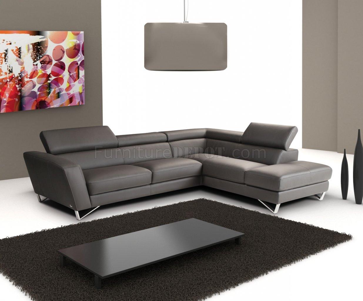 nicoletti lipari grey italian leather sofa chaise tosh furniture modern white sectional dark full w steel legs