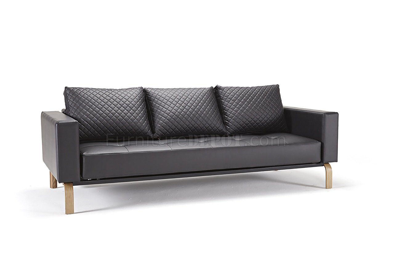 oak furniture sofa beds sofas narrow doorways cassius bed in black leatherette w legs by innovation
