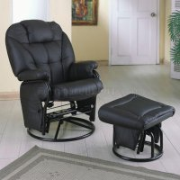 Black Leatherette Modern Glider Chair w/Ottoman